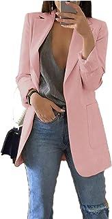 Andongnywell Womens Open Front Blazer Long Sleeve Slim Fit Work Office Cardigan Jacket
