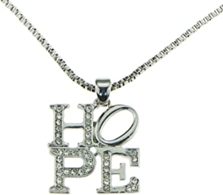 Silver Iced Out Inspirational Block Letter Word Hope Pendant Charm Necklace and Chain