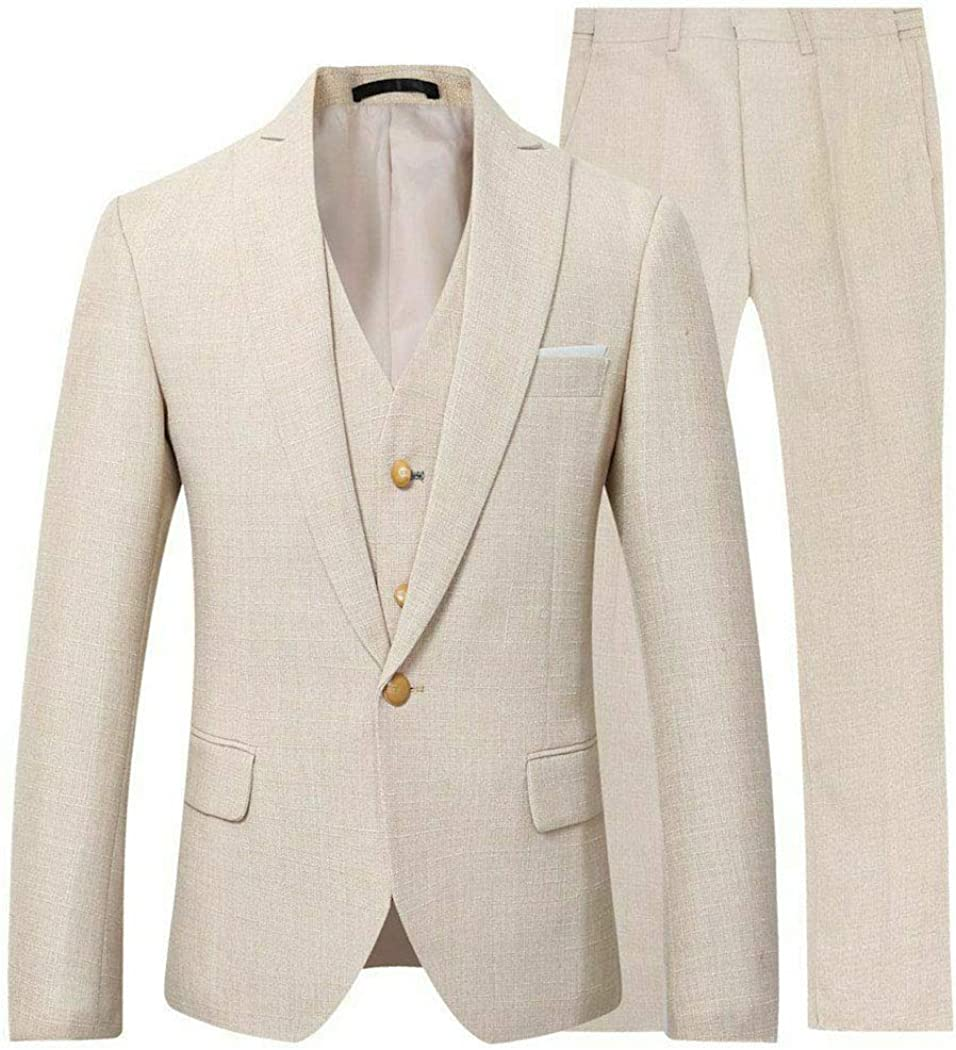 Michealboy Men's Linen Suit 3 Pieces Slim Fit One Button Notched Laple Back Vent Big and Tall Size