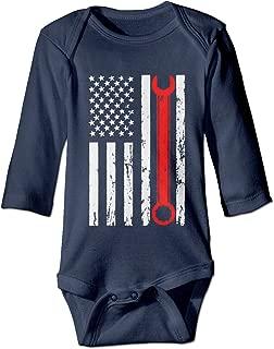 Infant Baby Girls Long Sleeve Climb Romper Vintage Distressed Mechanic Print Jumpsuit