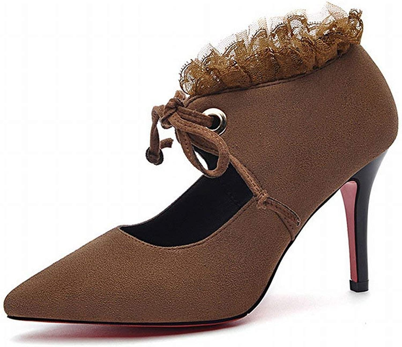 Oudan Spitz Schuhe mit Single Schuhe Single Damen High High High Heels Schuhe Casual Schuhe (Farbe   Kamel, Größe   48)  0e0d73