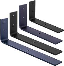 HOLZBRINK Metalen planksteun, wandplanksteun, doe-het-zelfplank, Grijs, 250x100x40 mm, 2 stukken, HLR-L-250-7016
