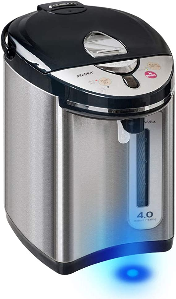 Secura Stainless Steel Water Boiler and Warmer w/Night light | Electric Kettle Water Heater