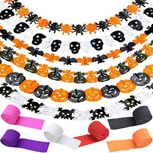 Speyang Halloween Garland, Banner de Halloween, 6 Pcs Papel Garland, Halloween Decoración Colgante, Halloween Banner de Papel Calabaza Fantasma Arañas Pancarta, 6 Papel Crepé Serpentinas Decoración