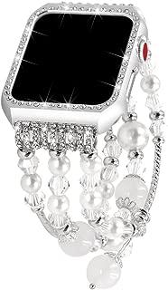 Apple Watch Band 38mm, Glittering Diamond Metal Case with Handmade Elastic Stretch Bracelet Fashion Women Girls Rhinestone Replacement Strap for iWatch Series 3/2/1