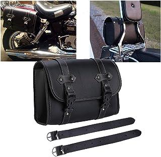 Motorrad Satteltasche PU Leder Werkzeug Rolle Motor Side Gepäck Travel Tool Hecktasche mit 2 Befestigungsriemen Schwarz