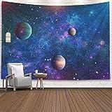 Yuanmeiju Tapiz de decoración de Pared Tapiz Colorido Tapiz Colgante de Pared 80X60 Pulgadas explosión Supernova Estrella Brillante Nebulosa Planetas St