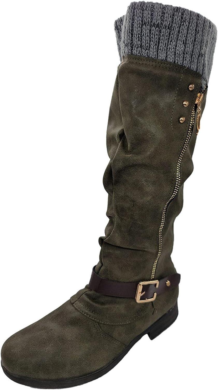 Aunimeifly Boots for Women Faux Fur Thermal Side Zipper Buckle W