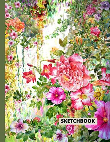 Botanical Sketchbook: Botanical Illustration In Watercolor Sketchbook Large 8.5' x 11' Sketchbook-Journal 110 Pages For Drawing, Painting Doodling, Sketching