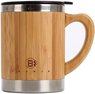 Baonus Original Bamboo Stainless steel Double walled Mug Wooden cup with Handle & Lid for Coffee,Juice,Soda,cola,other drinks 14oz 450ML