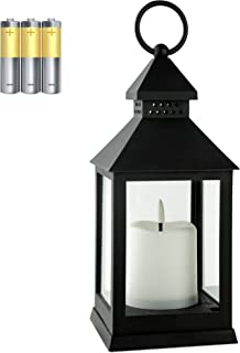 HN HAIINAA 1 Pack Hanging Lanterns Decorative Outdoor Battery,Candle Lantern Floor with ing Flameless Candles,Antique Deco...