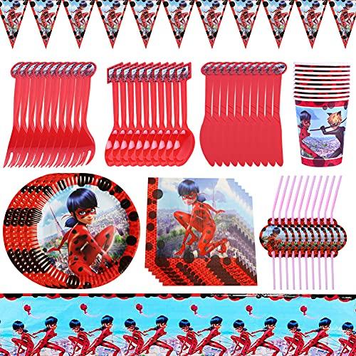 82pcs Vajilla de Fiesta de Ladybugio, Ladybug Party Platos de Papel Servilletas Pajitas Vasos Tazas Cuchillería Utensilios, per Cumpleaños Fiesta Baby Shower 10 Invitados