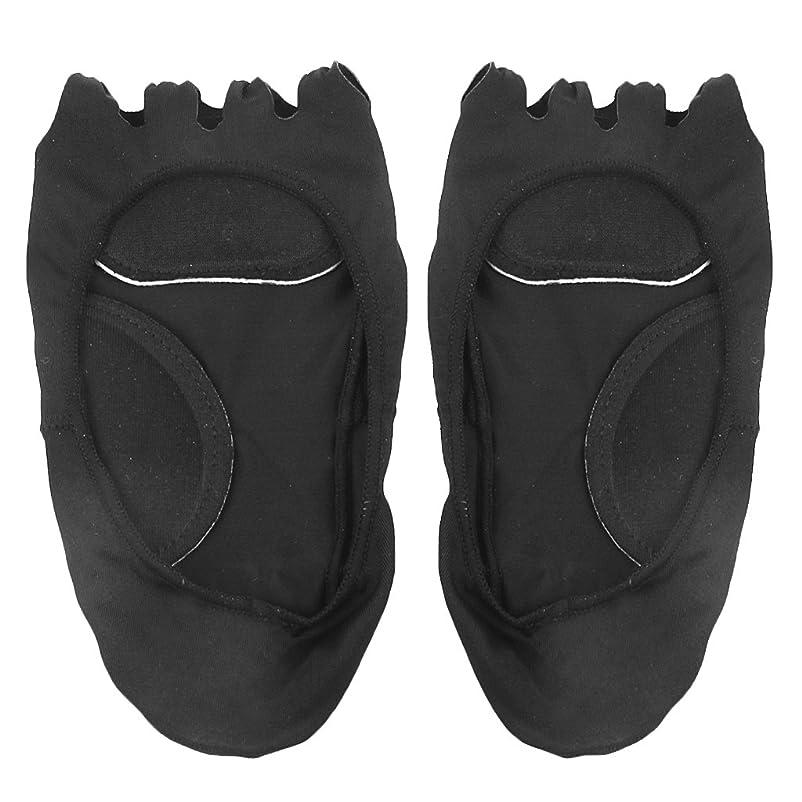 増幅踊り子直径【Footful】ソックス 靴下 5つ本指つま先 ボートソックス マッサージパッド 見えない 滑り止め アンクルソックス (ブラック)