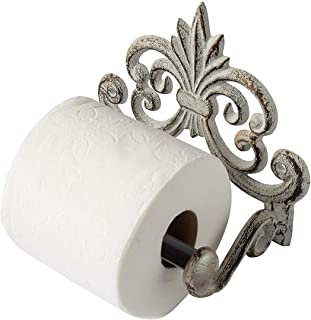 Comfify Fleur De Lis Cast Iron Toilet Paper Roll Holder - Cast Iron Wall Mounted Toilet Tissue Holder - European Vintage Design - 6.75