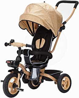 Laz Baby Tricycle with Push Handle, 3 in 1 Push and Ride Stroller Trike Bike Bassinet Pram with Storage Bin for Kids, Toddler (Color : Yellow)