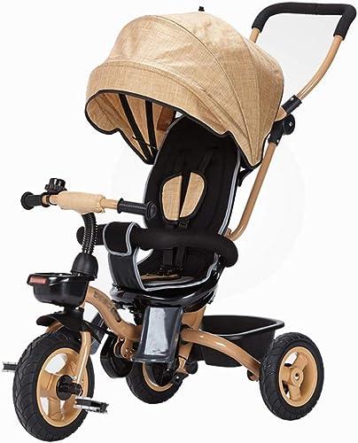 LAZ Tricycle pour bébé avec poignée de poussée, poussette 3 en 1 avec poussette Trike pour berceau pour poussette avec bac de rangeHommest pour enfants, enfant en bas age (Couleur   jaune)