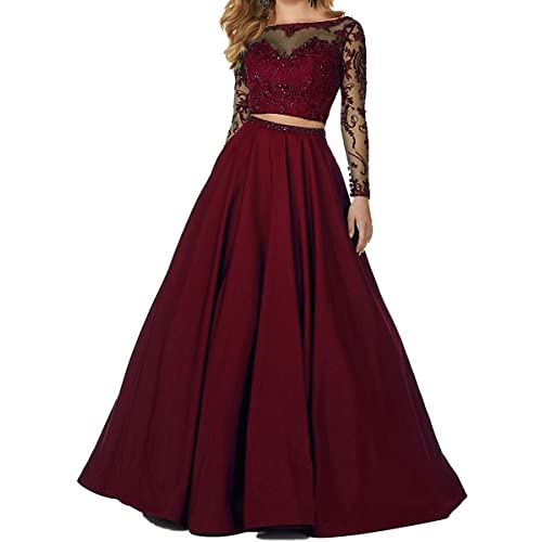e93bed034dc Little Star Women s 2 Piece Prom Dresses Long Sleeve Evening Party Ball  Gowns