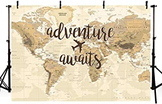 MEHOFOTO Adventure Awaits Travel Boy Baby Shower Party Decorations Backdrop Vintage World Map Around World Airplane Photography Background Photo Banner for Dessert Table Supplies 7x5ft