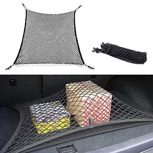 quanjucheer Filet de rangement en maille de nylon pour coffre de voiture - 4 crochets - Compatible avec toutes les voitures - 70 cm x 70 cm - Noir