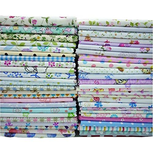 50pcs 7.8' x 9.8' (20cm x 25cm) Quilting Fabric,Fat Quarter Cotton Craft Fabric Bundle Patchwork Pre-Cut Quilt Squares for DIY Sewing