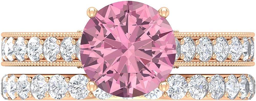 Solitaire Bridal Ring Max 83% OFF Set 8.00 MM Pink D-VSSI OFFicial shop Tourmaline