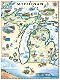 Michigan Map Wall Art Poster - Authentic Hand Drawn Maps in Old World, Antique Style - Art Deco - Lithographic Print