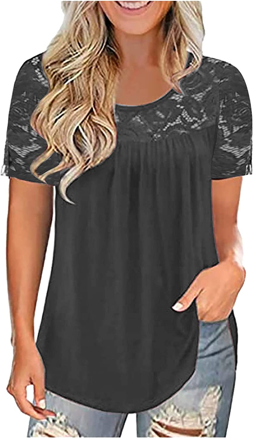 AODONG Short Sleeve Tops for Women, Women's Summer Tops Plus Size Lace Pleated Shirts Casual Loose Tees Tunic Blouses