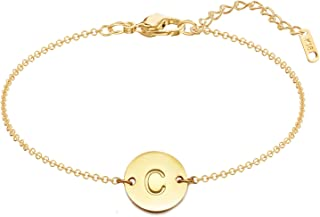 Initial Charm Bracelets, 18K Gold Plated Stainless Steel Dainty Small Round Coin Disc Initial Bracelet Engraved Letters Personalized Name Bracelet for Girls
