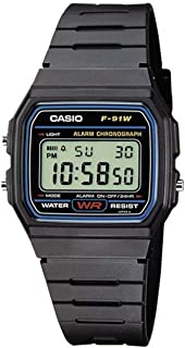 Casio Adulte – Mixte Digital Quartz Montre avec Bracelet en résine F-91W-1YER_P