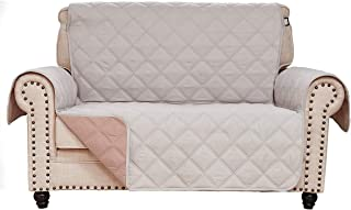 RHF Diamond Loveseat Covers for Dogs, Couch Covers for Dogs, Loveseat Cover for Dogs,Pet Cover for Loveseat, Loveseat Slipcover&Love Seat Couch Covers,Machine Washable(Loveseat:Light Beige/Latte)