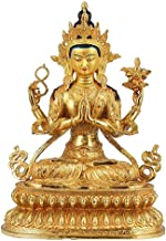 PPCP Brass Buddha Sculpture Hand-Carved Feng Shui Statue Crafts Home Decoration 33×19×45cm