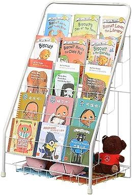 Bookcases Children's Bookshelf Wrought Iron Magazine Rack 5 Layer Floor Storage Rack Toy Rack Foldable Display Stand Load
