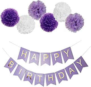 Guzon Purple Happy Birthday Bunting Banner,10 Inch Tissue Paper Pom Poms Flowers,Perfect Party Decoration Supplies for Birthday