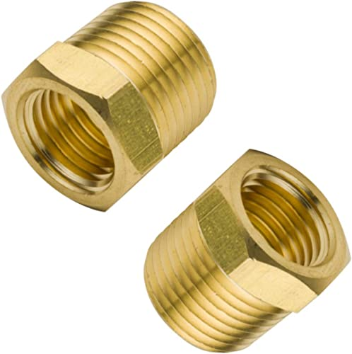 """Legines Brass Pipe Fitting Hex Bushing, 3/8"""" NPT Male to 1/4"""" NPT Female 1200psi (Pack of 2)"""