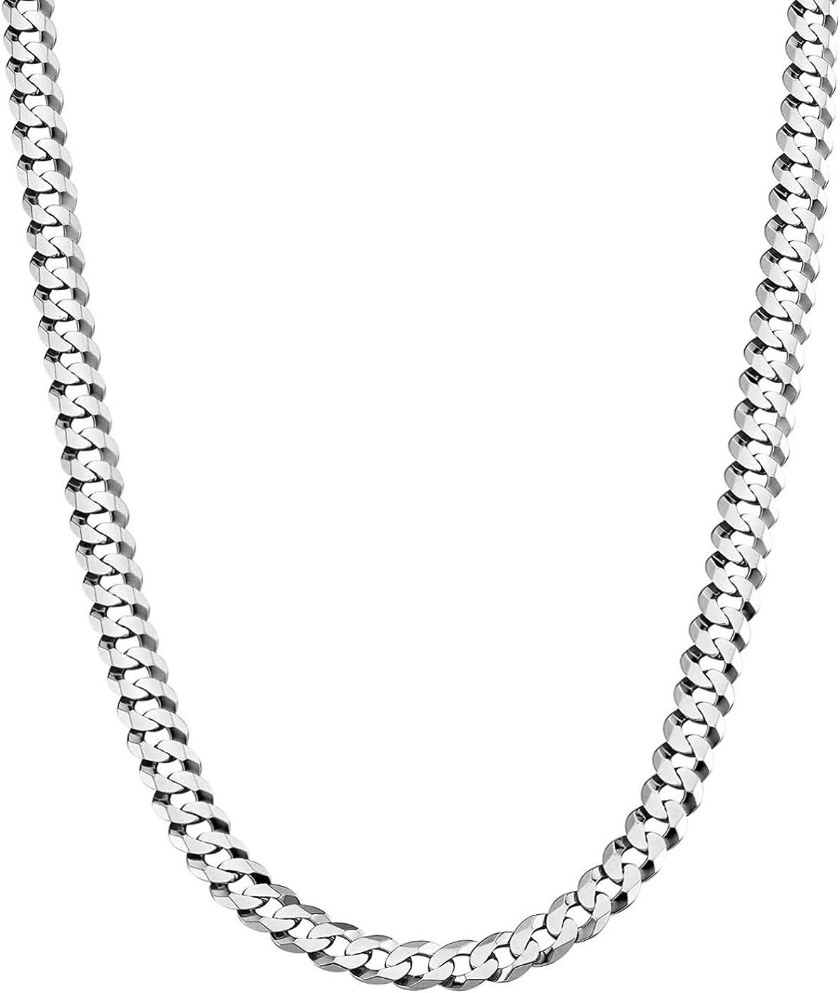 Savlano 925 Sterling Silver 5mm High quality free shipping Italian Ch Solid Curb Link Cuban