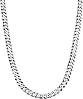 Savlano 925 Sterling Silver 5mm Italian Solid Curb Cuban Link Chain Necklace for Men & Women - Made in Italy Comes Gift Bo...