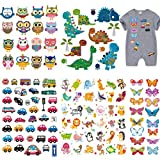 120 piezas Grandes Dinosaurios Mariposa Parches Termoadhesivos para niños, Ouceanwin Animales Coche Búho Parches, Pegatinas de Transferencia de Calor para Ropa, Camiseta, Jeans, Bolsos