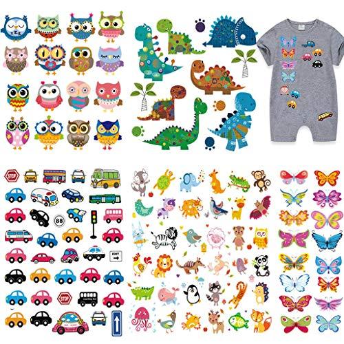 120 piezas Grandes Dinosaurios Mariposa Parches Termoadhesivos para niños, Ouceanwin Animales Coche...