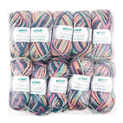 Gründl Color, Vorteilspack: 10 Knäuel à 50 g Filzwolle, Wolle, Rose-grün-Multicolor, 31 x 32 x 6 cm