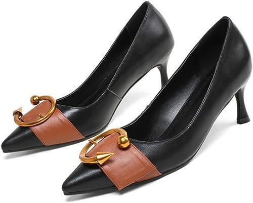 Femmes Printemps En Cuir à Talons Hauts Chaussures Chaussures Chaussures En Métal Boucle Couleur Assortie Chaussures Peu Profondes Des Escarpins Pour La Fête Quotidienne Robe Pompes 977