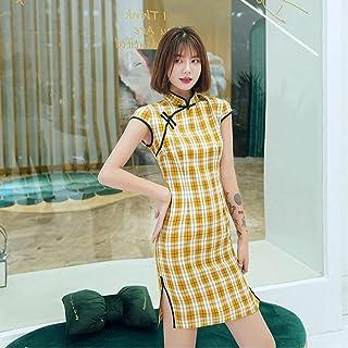 Plus Size 3Xl Women Traditional Vintage Black Plaid Short Cheongsam Short Sleeve Summer Sexy Qipao Dress