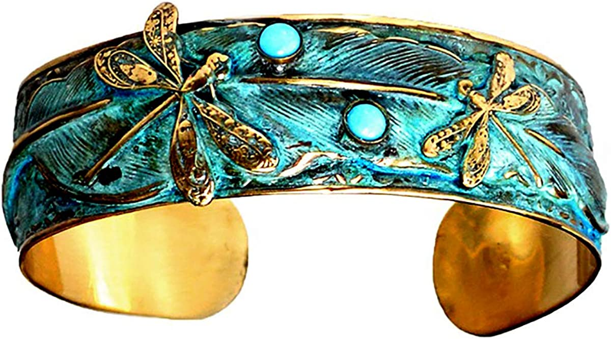 Verdigris Patina Wearable Art Dragonflies on Feather Cuff - Turquoise
