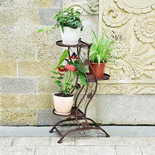 LLLXUHA Art de Fer métal Support de Fleurs, Plante Pot à Fleurs intérieur Type de Plancher Présentoir, Maisons Cadre décoratif, Copper, 27 * 45 * 80cm