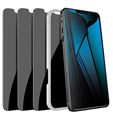"""[3 Pack] iPhone 12 Pro Max Privacy Screen Protector, LYWHL Tempered Glass Anti-Spy Screen Protector for iPhone 12 Pro Max 6.7"""" 2020 5G, [Easy Installation] Anti-Peek Black 9H Hardness Bubble Free Case friendly"""