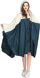 wetry - Poncho de Lluvia para Mujer Cape Lluvia Reutilizable Chaqueta Impermeable y Cortavientos para Bicicletas, Campamen...