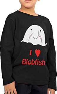 Wanjirong Boy&Girl I Love Blobfish Round Neck Long Sleeve Tee Shirt