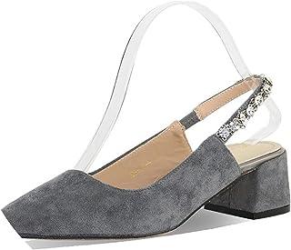 45c172811dd New-Loft Women Pumps Heels Crystal Eleganet Thick Heel PartyBlack Spring  Pointed Toe Slingbacks Shoes