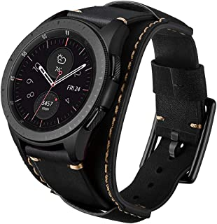 Leotop Compatible with Samsung Galaxy Watch 46mm/Gear S3 Frontier/Classic Bands, 22mm Replacement Genuine Leather Cuff Strap with Stainless Steel Metal Buckle for Men Women (Black)
