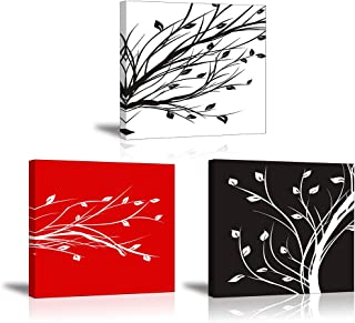 PIY PAINTING 3X Leaves Modern Canvas Painting, Abstract Trees Floral Pictures Painting on Canvas, Wall Art Images Painting...