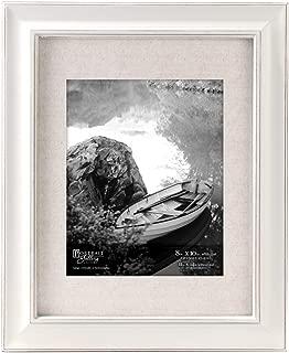 Malden International Designs Barnside Portrait Gallery Textured Mat Picture Frame, 8x10/11x14, White
